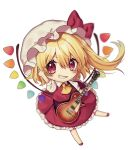 1girl arm_up ascot bangs blonde_hair blush bow chibi commentary_request eyebrows_visible_through_hair flandre_scarlet grin guitar hair_between_eyes hat hat_bow hexagram holding holding_instrument instrument kyouda_suzuka les_paul looking_at_viewer mob_cap one_side_up puffy_short_sleeves puffy_sleeves red_bow red_eyes red_footwear red_skirt red_vest shirt shoes short_sleeves simple_background skirt skirt_set smile solo sparkle star touhou v-shaped_eyebrows vest white_background white_headwear white_shirt wings yellow_neckwear