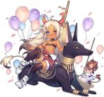 1girl ahoge ark_order balloon black_legwear heterochromia horns long_hair multicolored_hair puta_(ark_order) red_shorts shoes shorts sneakers solo streaked_hair suspender_shorts suspenders tail tan thigh-highs transparent_background utm very_long_hair white_footwear white_hair