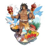 1boy belt brown_hair dragalia_lost fish flower food full_body grill hawaiian_shirt long_hair looking_at_viewer male_focus muscle non-web_source official_art open_clothes open_shirt parted_lips ranzal saitou_naoki shirt smile solo teeth