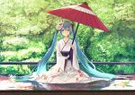 1girl absurdres aqua_hair bangs blue_eyes blush closed_mouth collarbone day eyebrows_visible_through_hair floral_print flower fox_mask full_body hair_between_eyes hair_flower hair_ornament hatsune_miku highres holding holding_umbrella huge_filesize japanese_clothes kimono long_hair long_sleeves looking_at_viewer mask mask_on_head nishin_(nsn_0822) obi oriental_umbrella origami outdoors paper_crane red_umbrella sash sidelocks sitting smile solo tree twintails umbrella very_long_hair vocaloid white_kimono wide_sleeves