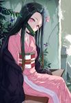 1girl bamboo bit_gag black_cloak black_hair blue_butterfly bug butterfly checkered_obi cloak commentary_request from_side gag hair_ribbon haori head_tilt highres insect japanese_clothes kamado_nezuko kimetsu_no_yaiba kimono looking_at_viewer looking_to_the_side mouth_hold multicolored_hair on_bench orange_hair outdoors pink_eyes pink_kimono pink_ribbon purple_butterfly revision ribbon signature snozaki solo two-tone_hair