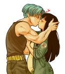 1boy 1girl ^_^ bangs belt black_hair black_shirt blue_hair blunt_bangs blush capsule_corp closed_eyes commentary couple dragon_ball dragon_ball_super english_commentary fingernails hands_on_another's_chest hands_on_another's_head happy heart hetero hime_cut jacket kiss long_hair lowres mai_(dragon_ball) muscle pants pregnant profile shirt sleeveless sleeveless_shirt smile spacey transparent_background trunks_(future)_(dragon_ball) very_long_hair