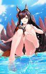 1girl akagi_(azur_lane) akagi_(paradise_amaryllis)_(azur_lane) animal_ears ass azur_lane bangs barefoot beach black_hair breasts brown_eyes clouds cloudy_sky collarbone commentary_request day feet fengya highres large_breasts long_hair looking_at_viewer multiple_tails navel open_mouth palm_tree partially_submerged revision sitting sky smile soles solo splashing swimsuit tail thighs toes tree water