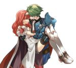 1boy 1girl alm_(fire_emblem) armor armored_boots black_legwear bodysuit boots cape carrying celica_(fire_emblem) couple dress earrings face-to-face fingerless_gloves fire_emblem fire_emblem_echoes:_shadows_of_valentia gloves green_eyes green_hair hand_on_another's_face hetero highres jewelry looking_at_another misu_kasumi princess_carry red_eyes redhead ribbed_bodysuit signature simple_background smile thigh-highs thigh_boots thighhighs_under_boots tiara white_background white_dress white_footwear