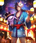 1boy 1girl aerial_fireworks alice_in_wonderland bell black_hair black_headwear blue_kimono facial_hair facial_mark festival fireworks gun hat heterochromia highres holding holding_gun holding_stuffed_animal holding_weapon japanese_clothes jewelry jingle_bell kei1115 kimono lantern mask mask_on_head mustache necklace night night_sky over_shoulder paper_lantern red_eyes skull_necklace sky smile stuffed_animal stuffed_toy taiko toy_gun watermark weapon wide_sleeves yukata