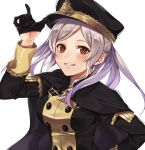 1girl alternate_costume bangs black_gloves black_headwear blush breasts brown_eyes cloak cosplay cute eyebrows_visible_through_hair female_focus female_my_unit_(fire_emblem:_kakusei) fire_emblem fire_emblem:_fuukasetsugetsu fire_emblem:_kakusei fire_emblem:_three_houses fire_emblem_awakening fire_emblem_heroes garreg_mach_monastery_uniform gloves grin half_gloves hat intelligent_systems kamu_(kamuuei) long_hair long_sleeves looking_at_viewer my_unit_(fire_emblem:_kakusei) nintendo reflet robin_(fire_emblem) robin_(fire_emblem)_(female) school_uniform shirt silver_hair simple_background smile solo super_smash_bros. teeth twintails uniform upper_body white_background
