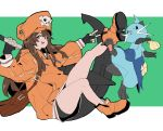 1girl absurdres anchor backpack bag baggy_clothes black_shorts brown_hair dewott fingerless_gloves gen_5_pokemon gloves guilty_gear guilty_gear_2020 hat highres holding holding_weapon hood hoodie long_hair long_sleeves makai may_(guilty_gear) orange_eyes orange_headwear orange_shirt pirate_hat pokemon pokemon_(creature) pokemon_(game) pokemon_bw pose shirt shoes shorts smile v weapon