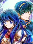 1boy 1girl armor blue_eyes blue_hair caeda_(fire_emblem) color_connection couple cute female_focus fire_emblem fire_emblem:_monshou_no_nazo fire_emblem:_shadow_dragon fire_emblem:_shin_ankoku_ryuu_to_hikari_no_tsurugi fire_emblem_mystery_of_the_emblem husband_and_wife intelligent_systems king looking_at_another love male_focus marth marth_(fire_emblem) matofig moe nintendo one_eye_closed queen sheeda super_smash_bros. teenage wink