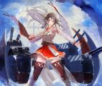 1girl black_hair boots brown_eyes brown_footwear clenched_hand cowboy_shot dazzle_paint detached_sleeves hair_ornament hairclip haruna_(kantai_collection) headgear highres kantai_collection long_hair looking_at_viewer nagasawa_tougo nontraditional_miko red_skirt remodel_(kantai_collection) sarashi skirt solo thigh-highs thigh_boots wide_sleeves