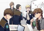 5boys back black_neckwear blonde_hair braid brown_hair chang_wufei computer cup disposable_cup drinking drinking_straw duo_maxwell english_text expressionless green_eyes gundam gundam_wing hair_over_one_eye heero_yuy highres holding holding_drink holding_paper jacket laptop long_hair male_focus multiple_boys necktie open_mouth paper ponytail profile quatre_raberba_winner rei_(usabiba) single_braid table trowa_barton upper_body violet_eyes