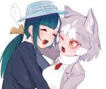 2girls animal_ears breasts closed_eyes dog_(mixed_breed)_(kemono_friends) dog_ears eyebrows_visible_through_hair gloves green_hair grey_hair hair_ribbon hat hug juz kemono_friends low_ponytail multicolored_hair multiple_girls one_eye_closed ribbon sidelocks simple_background tomoe_(kemono_friends)_(niconico88059799) two-tone_hair white_background white_gloves white_hair yellow_eyes yellow_ribbon