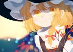 1girl abukawa_honpo blonde_hair blurry blurry_background blush braid branch closed_mouth hair_ribbon hat highres kirisame_marisa long_hair puffy_sleeves red_ribbon ribbon signature smile solo touhou upper_body witch_hat yellow_eyes