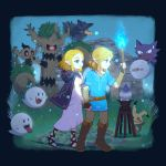 1boy 1girl 6+others absurdres bangs belt black_gloves blonde_hair blue_eyes blue_shirt boo boots braid brown_belt brown_footwear candle character_request commentary_request creatures_(company) crow crown_braid darkness_(specie) disguise dress earrings elder_tree elf fingerless_gloves game_freak gas_(specie) ghost gloves green_eyes hair_ornament hairclip haunter highres holding hylian jewelry link litwick mario_(series) medium_hair mimikyu murkrow nintendo nintendo_ead olm_digital outdoors parted_bangs phantump pointy_ears pokemon pokemon_(anime) pokemon_(creature) pokemon_(game) pokemon_bw pokemon_bw2 pokemon_frlg pokemon_rgby pokemon_sm pokemon_ultra_sm pokemon_xy princess_zelda ruins rutiwa shirt short_hair stump super_mario_bros. super_smash_bros. the_legend_of_zelda torch tree trevenant zelda_no_densetsu