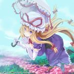 1girl blonde_hair blue_sky breasts cherry_blossoms commentary_request corset day dress floating hanging_breasts hat hat_ribbon konpaku_youmu large_breasts long_hair looking_at_viewer maki_(seventh_heaven_maxion) mob_cap mountain outdoors purple_dress ribbon ribbon_trim sky smile solo touhou touhou_cannonball umbrella very_long_hair violet_eyes yakumo_yukari