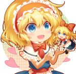1girl alice_margatroid blonde_hair blue_eyes capelet chibi doll dress eyebrows_visible_through_hair frilled_dress frilled_hairband frills hair_between_eyes hairband heart long_sleeves looking_at_another open_mouth red_neckwear shangguan_feiying shanghai_doll short_hair short_sleeves smile touhou