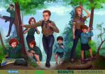 4boys 4girls absurdres backpack badge bag belt belt_buckle binoculars blonde_hair blue_eyes boy_scout brown_eyes brown_hair buckle commission commissioner_upload cub_scout curly_hair english_text flats forest girl_scout green_eyes highres huge_filesize in_tree long_hair long_sleeves magnifying_glass map multiple_boys multiple_girls nature neckerchief original outdoors pants poster redhead rucksack sandals shirt shoes short_hair short_sleeves shorts sitting sitting_in_tree skirt squatting standing sweater tree tychytamara uniform yellow_eyes