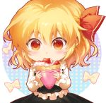 1girl bangs black_skirt black_vest blonde_hair blush bow chibi circle commentary_request crepe cute eating eyebrows_visible_through_hair food frills fruit hair_between_eyes hair_ribbon holding holding_food long_sleeves looking_at_viewer moe red_eyes red_ribbon ribbon rumia shangguan_feiying shirt short_hair simple_background skirt solo strawberry team_shanghai_alice touhou upper_body vest white_background white_bow white_shirt