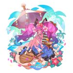 1girl bird blue_hair cleo_(dragalia_lost) coconut coconut_tree dragalia_lost drink flower full_body gradient_hair hair_ornament long_hair looking_at_viewer multicolored_hair non-web_source ocean official_art open_clothes open_skirt palm_tree petals pink_hair pout purple_hair saitou_naoki sandals sandals_removed skirt swimsuit tree twintails violet_eyes