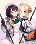 2girls abigail_williams_(fate/grand_order) apron artist_request bangs black_gloves black_skirt blonde_hair blue_eyes blunt_bangs blush braid breasts closed_mouth dress fate/grand_order fate_(series) forehead french_braid gloves grey_jacket hair_bun hair_ornament hairpin heroic_spirit_festival_outfit highres jacket katsushika_hokusai_(fate/grand_order) keyhole long_hair long_sleeves looking_at_viewer maid_headdress medium_breasts mop multiple_girls open_clothes open_jacket parted_bangs purple_hair sash short_hair skirt small_breasts smile sparkle stuffed_animal stuffed_toy teddy_bear violet_eyes white_dress