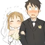 1boy 1girl black_hair blush bouquet bow bowtie brown_hair closed_mouth collarbone commentary commentary_request couple dress flower flying_sweatdrops formal highres holding holding_bouquet husband_and_wife locked_arms looking_up nervous nichijou nose_blush open_mouth sakurai_izumi short_hair simple_background sketch smile sookmo suit sweat takasaki_manabu upper_body wedding wedding_dress white_background