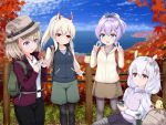 4girls :d :o alternate_costume animal animal_ears arm_support autumn_leaves ayanami_(azur_lane) azur_lane backpack bag bangs bird black_legwear black_pants black_ribbon black_skirt blue_jacket blue_sky brown_eyes brown_headwear brown_shirt brown_skirt bunny_hair_ornament camera chick closed_mouth clouds commentary_request day double_v eyebrows_visible_through_hair fence green_eyes green_shorts grey_legwear hair_between_eyes hair_ornament hair_ribbon hairband hands_up hat headgear high_ponytail holding holding_camera horizon iron_cross jacket javelin_(azur_lane) laffey_(azur_lane) legwear_under_shorts light_brown_hair long_hair long_sleeves manjuu_(azur_lane) multiple_girls ocean open_clothes open_jacket open_mouth outdoors pants pantyhose parted_lips ponytail purple_hair purple_jacket purple_vest rabbit_ears red_eyes ribbon shirt shorts silver_hair skirt sky smile striped striped_shirt thermos twintails u2_(5798239) v very_long_hair vest violet_eyes water white_hairband white_jacket white_shirt z23_(azur_lane)