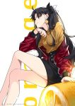 1girl bangs black_hair black_skirt blue_eyes crossed_legs earrings english_text fate/stay_night fate_(series) feet_out_of_frame food food_themed_earrings fruit highres jacket jewelry long_hair long_sleeves off_shoulder orange orange_earrings orange_nails orange_slice oversized_food profile red_jacket shirt sitting skirt solo toosaka_rin watermark web_address yaoshi_jun yellow_shirt