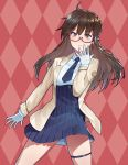 absurdres argyle argyle_background azur_lane blue_neckwear brown_hair commentary_request cowboy_shot earrings glasses gloves highres jewelry jojo_no_kimyou_na_bouken jojo_pose london_(azur_lane) long_hair long_sleeves necktie pink_background pose red-framed_eyewear red_eyes semi-rimless_eyewear shinidei thigh_strap two-tone_background under-rim_eyewear white_gloves