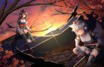 2girls animal_ears autumn_leaves bird black_hair black_legwear blurry blush breasts clouds commentary_request crow depth_of_field detached_sleeves diffraction_spikes expressionless fall_(5754478) geta hair_between_eyes hat hauchiwa highres holding holding_sword holding_weapon in_tree inubashiri_momiji katana kourindou_tengu_costume leaf looking_at_viewer maple_leaf medium_breasts mountain multiple_girls outdoors pom_pom_(clothes) red_eyes red_headwear red_sky shameimaru_aya sheath sheathed short_hair sitting sky smile squatting sunset sword tail tengu-geta thigh-highs tokin_hat touhou tree tree_branch weapon white_hair wolf_ears wolf_tail
