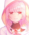 1girl bangs blunt_bangs blurry blurry_background blurry_foreground blush cloak close-up crying crying_with_eyes_open depth_of_field dot_nose eyebrows_visible_through_hair face happy hood hood_up hooded_cloak looking_at_viewer magia_record:_mahou_shoujo_madoka_magica_gaiden mahou_shoujo_madoka_magica paru_rari pink_eyes pink_hair pink_theme simple_background smile solo tamaki_iroha tears turtleneck upper_body white_background