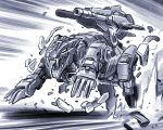 cannon cheetah claws energy_gun highres ishiyumi lightning_saix mecha monochrome no_humans running solo weapon zoids