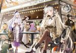 6+girls ahoge akashi_(azur_lane) animal_ears ark_royal_(azur_lane) artist_name azur_lane bag bangs beige_coat belfast_(azur_lane) beret black_dress black_hair blonde_hair blue_eyes blush boots breasts brown_legwear casual cat_ears chain choker coat collar crossed_legs cup day dress earrings eyebrows_visible_through_hair formidable_(azur_lane) frills gradient_hair green_hair grey_hair hair_between_eyes hair_ornament hair_over_one_eye hair_ribbon hat head_tilt high-waist_skirt high_heels holding holding_cup holding_tray illustrious_(azur_lane) jewelry large_breasts long_hair long_sleeves looking_at_viewer low_twintails menu_board mullpull multicolored_hair multiple_girls open_mouth outdoors pantyhose purple_hair queen_elizabeth_(azur_lane) red_eyes restaurant ribbon short_hair shoulder_bag side_bun sitting skirt smile sun_hat tray twintails unicorn_(azur_lane) very_long_hair yellow_eyes