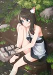 1girl absurdres animal_ear_fluff animal_ears bare_shoulders barefoot black_hair blue_eyes cat_ears cat_tail collarbone dress eyebrows_visible_through_hair eyes_visible_through_hair footwear_removed highres nekoze_(s22834712) original outdoors sandals sitting smile solo tail tu_ya_(nekoze) water weapon