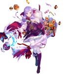 1girl alternate_costume bangs boots breasts buttons candy cape circlet closed_mouth detached_sleeves dress eyebrows_visible_through_hair fire_emblem fire_emblem:_path_of_radiance fire_emblem:_radiant_dawn fire_emblem_heroes food fuji_choko full_body gloves hair_ornament halloween_costume highres holding ilyana_(fire_emblem) jewelry knee_boots long_hair long_sleeves looking_away medium_breasts official_art pantyhose purple_footwear purple_gloves purple_hair shiny shiny_hair short_dress skirt solo tied_hair torn_clothes transparent_background violet_eyes white_legwear