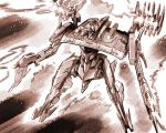 armored_core_3 dual_wielding firing full_body gun highres holding ishiyumi looking_away mecha monochrome muzzle_flash no_humans sepia shoulder_cannon weapon