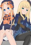 2girls :d abigail_williams_(fate/grand_order) atsumisu bangs beret black_bow black_dress black_headwear black_legwear blonde_hair bloomers blue_dress blue_eyes blunt_bangs blush bow brown_background brown_gloves bug butterfly commentary_request crossed_legs dress eyebrows_visible_through_hair fate/grand_order fate_(series) fur-trimmed_sleeves fur_trim gloves green_eyes grin hair_bow half-closed_eyes hat insect long_hair long_sleeves looking_at_viewer lord_el-melloi_ii_case_files multiple_girls object_hug open_mouth orange_bow pantyhose parted_bangs polka_dot polka_dot_bow reines_el-melloi_archisorte sitting sleeves_past_fingers sleeves_past_wrists smile stuffed_animal stuffed_toy teddy_bear tilted_headwear underwear v-shaped_eyebrows very_long_hair white_bloomers