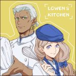 1boy 1girl alternate_costume blonde_hair blue_bow blue_headwear bow chef_hat chef_uniform closed_mouth dark_skin dark_skinned_male dedue_molinaro earrings fire_emblem fire_emblem:_three_houses green_eyes hair_bow hat holding jewelry long_hair low_ponytail mercedes_von_martritz sanjou_(askxx1023) short_hair simple_background smile upper_body whisk white_hair yellow_background