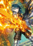 1girl armored_boots black_pants blue_eyes blue_hair boots breasts brown_footwear brown_gloves byleth_(fire_emblem) byleth_(fire_emblem)_(female) closed_mouth dutch_angle fire_emblem fire_emblem:_three_houses fire_emblem_cipher floating_hair gloves holding holding_sword holding_weapon indoors kita_senri long_hair looking_at_viewer medium_breasts official_art pants solo standing sword thigh-highs thigh_boots weapon