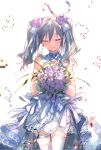 1girl blush bouquet bow closed_eyes closed_mouth cowboy_shot detached_collar dress earrings flower gloves hair_bow hair_flower hair_ornament holding holding_bouquet idolmaster idolmaster_cinderella_girls jewelry kanzaki_ranko keylime layered_dress long_hair pink_flower pink_rose rose silver_hair simple_background sleeveless sleeveless_dress smile solo standing thigh-highs twintails wedding_dress white_background white_bow white_dress white_gloves white_legwear zettai_ryouiki