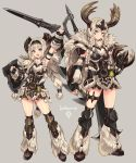 2girls absurdres arm_up armlet armor armpits banbaro_(armor) belt blue_eyes braid charge_blade eyebrows_visible_through_hair fingerless_gloves full_body fur_trim gloves greaves grey_background hand_on_hip highres holding holding_weapon horned_headwear kneehighs kunai looking_at_viewer monster_hunter monster_hunter:_world multiple_girls open_mouth shield sigm@ silver_hair standing strap sword thigh_strap twin_braids weapon weapon_on_back