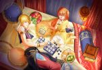 1boy 1girl :d ahoge armlet barefoot blonde_hair blush bracelet eyebrows_visible_through_hair fate/grand_order fate_(series) from_above fujimaru_ritsuka_(female) gilgamesh gilgamesh_(caster)_(fate) hair_between_eyes hair_ornament hair_scrunchie head_rest holding jewelry long_hair lying miniskirt necklace on_bed on_side open_mouth orange_hair pillow red_eyes riako scrunchie shiny shiny_hair side_ponytail sitting sitting_on_bed skirt sleeveless smile wariza white_skirt yellow_scrunchie
