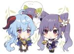 2girls chibi double_bun food ganyu_(genshin_impact) genshin_impact hair_bun keqing_(genshin_impact) multiple_girls noi_(noi_nonnon)