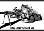 1girl bangs black_border black_neckwear black_skirt blush bolt_action border cheytac_m200 closed_mouth collared_shirt english_text girls_frontline gun holding hood hood_up hooded_jacket jacket long_sleeves lying m200_(girls_frontline) necktie on_stomach open_clothes open_jacket osakana_(denpa_yun'yun) pleated_skirt rifle scope shadow shirt silver_hair simple_background skirt sniper_rifle solo violet_eyes weapon white_background white_shirt
