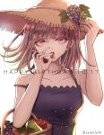 1girl apple artist_name bare_shoulders basket breasts collarbone commentary_request danganronpa dated dress eyebrows_visible_through_hair food fruit happy_birthday hat holding holding_basket large_breasts looking_at_viewer medium_hair nanami_chiaki pink_eyes pink_hair purple_dress simple_background solo straw_hat sun_hat super_danganronpa_2 white_background z-epto_(chat-noir86)