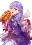 bangs breasts buttons cake cape circlet cup dress eating fire_emblem fire_emblem:_path_of_radiance fire_emblem_heroes food gloves halloween_costume highres ilyana_(fire_emblem) kokouno_oyazi long_hair long_sleeves looking_at_viewer open_mouth pantyhose pumpkin purple_hair red_gloves simple_background tea teacup teeth tied_hair violet_eyes white_background white_legwear