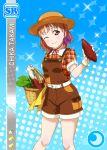 blush character_name dress love_live!_school_idol_festival love_live!_sunshine!! orange_hair red_eyes short_hair smile takami_chika wink