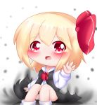 1girl arm_up ascot black_skirt black_vest blonde_hair blush chibi commentary darkness eyebrows_visible_through_hair feet_out_of_frame hair_between_eyes hair_ribbon knees_up long_sleeves looking_at_viewer open_hand open_mouth panties pantyshot pantyshot_(sitting) polka_dot polka_dot_background red_eyes red_neckwear ribbon rumia shirt short_hair sitting skirt socks solo touhou twitter_username underwear vest white_background white_legwear white_shirt yairenko