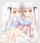 2girls absurdres animal_ear_fluff animal_ears bandaid bandaid_on_knee bangs black_bow blue_shirt blush bobby_socks bow brown_eyes brown_shirt cat_ears cat_girl cat_tail closed_mouth commentary_request eyebrows_visible_through_hair feet_out_of_frame grey_hair hair_between_eyes hair_bow hair_ornament hairclip hand_on_another's_shoulder heart highres kneeling knees_up long_hair long_sleeves looking_at_viewer multiple_girls nakkar original pleated_skirt puffy_long_sleeves puffy_sleeves sailor_collar school_uniform serafuku shirt sitting skirt sleeves_past_wrists socks tail twintails twitter_username very_long_hair white_bow white_legwear white_sailor_collar white_skirt x_hair_ornament
