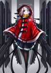 1girl absurdres blue_eyes cloak eyepatch feet_out_of_frame gun halo highres hood hood_up hooded_cloak horns looking_at_viewer mecha_musume original pantyhose red_cloak rifle scarf science_fiction skirt solo uggrgregg weapon white_hair