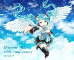 1girl 2017 :d angel_wings asami_(undoundo) black_footwear black_skirt black_sleeves blue_hair blue_neckwear blue_sky boots character_name clouds dated detached_sleeves dress_shirt feathered_wings floating_hair full_body green_eyes grey_shirt hair_ornament hatsune_miku headphones headset highres long_hair long_sleeves looking_at_viewer microphone miniskirt necktie open_mouth outstretched_arm pleated_skirt shiny shiny_hair shirt skirt sky sleeveless sleeveless_shirt smile solo sparkle thigh-highs thigh_boots twintails very_long_hair vocaloid white_wings wings zettai_ryouiki