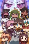 1other 4boys 5girls androgynous arabian_clothes armor armored_dress asymmetrical_legwear asymmetrical_sleeves bangs blonde_hair blue_eyes blue_gloves brown_hair chaldea_uniform chibi cloak closed_eyes command_spell creature cropped_vest crown detached_collar detached_sleeves earrings elbow_gloves enkidu_(fate/strange_fake) fate/grand_order fate_(series) forehead fou_(fate/grand_order) fujimaru_ritsuka_(male) gilgamesh gilgamesh_(caster)_(fate) gloves gorgon_(fate) grail-kun green_hair hair_over_one_eye heavenly_boat_maanna highres holding_shield hood hooded_cloak hooded_robe hoop_earrings ishtar_(fate/grand_order) jewelry l.n labcoat leonardo_da_vinci_(fate/grand_order) long_hair mash_kyrielight medusa_(lancer)_(fate) merlin_(fate) multiple_boys multiple_girls orange_hair parody parted_bangs purple_hair red_eyes rider riyo_(lyomsnpmp)_(style) robe romani_archaman shield short_hair single_detached_sleeve single_elbow_glove single_sleeve single_thighhigh style_parody thigh-highs tiara toga toosaka_rin turban two_side_up very_long_hair violet_eyes weapon white_robe